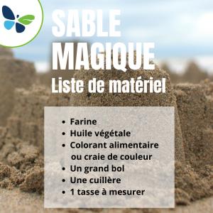 Matériel pour fabriquer du sable magique