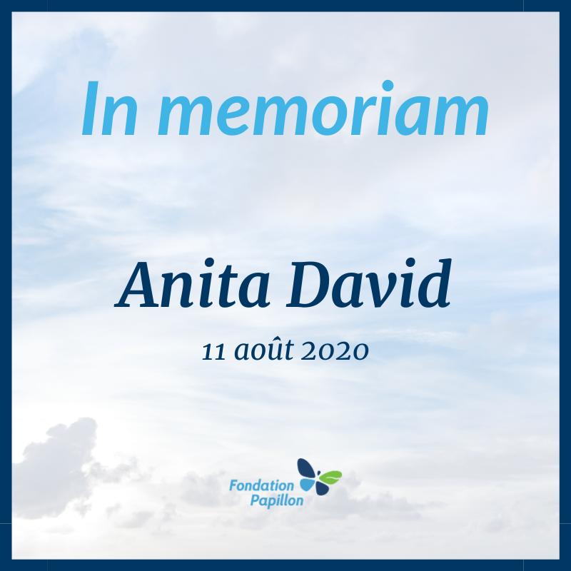 Décès d'Anita David